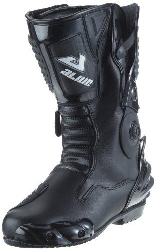 Protectwear TS-006-44 Motorradstiefel Racing aliue, Wasserabweisend aus schwarzem Leder mit aufgesetzten Hartschalenprotektoren, Größe 44, Schwarz