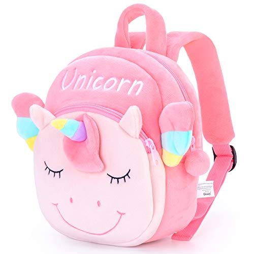 Gloveleya Unicorn Kids Backpack Unicorn Backpacks Baby Gift Baby Luggage Back to School Travel Use - Flat Unicorn Pink Over 2 Year Old