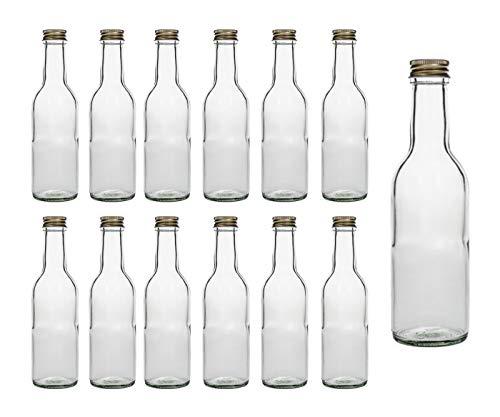 15er Set leere Glasflaschen BOR Bordeaux 250 ml incl. Schraubverschluss Gold zum selbst Abfüllen Likörflasche Schnapsflasche Glasflasche Flasche 0,25 Liter Weinflaschen