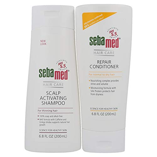 Sebamed Scalp Activating Shampoo for Thinning Hair and Repair Conditioner Set (200mL Bottles)