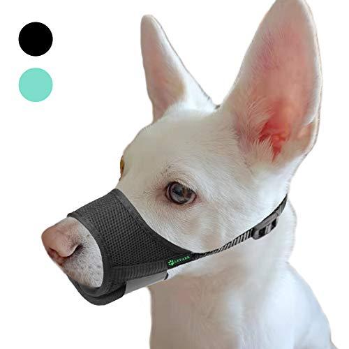 ILEPARK Maulkorb für Hunde mit atmungsaktivem, Weichem Netzstoff, Verhindert Beißen und Bellen - Verstellbare Schlaufe für Große, Mittelgroße und Kleine Hunde (XS,Schwarz)