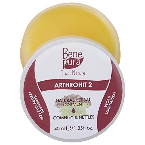 BenePura ArthroHit 2 - Natürliche Kräutersalbe 40 ml - Beinwell & Brennnessel - Starkes Antioxidationsmittel - Wirkt günstig auf Ihre Gelenke nach dem Sport-Ohne Tierversuche, Konservierungsmittelfrei