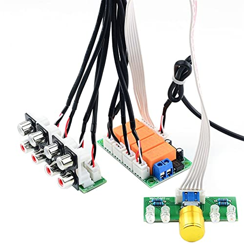 Wnuanjun 1set Audio Interruptor Interruptor de Entrada Tablero de la Placa Relé de la señal de Sonido de 4 vías de 1 vía out out out out out POTENTIÓMÓMEO Control DE Control para AMPLIFER