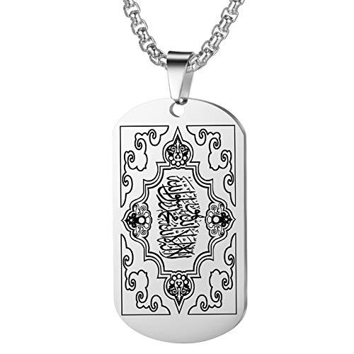 Edelstahl Silber Muslim Allah Ayatul Kursi Anhänger Halskette Für Männer Frauen Islam Koran Schriften Geschenk Schmuck Geschenke