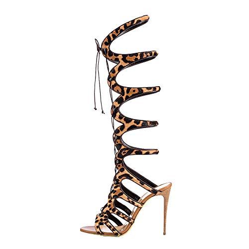 PFMY.DG Sommer Rom Coole Stiefel, Hohe Hilfe Spitze High Heel Sandalen, Mode Vordere Krawatte Erhöhen, ansteigen Einzelne Schuhe,Yellow,43
