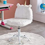 CIMOTA Cute Furry Kids Desk Chair Small Rolling Chair for Girls Boys, Adjustable Swivel Comfortable Child Computer Chair for Study Room, White Fur