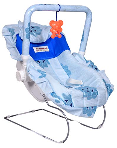 Goyal's 10 in 1 Carry Plastic Cot/Bouncer with Mosquito Net and Swinging Ropes (Floral Blue Design)