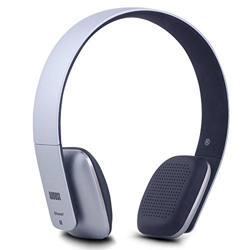 August EP636 - Bluetooth v4.1 NFC Kopfhörer - mit Freisprechfunktion und integriertem 14h Akku - Silber