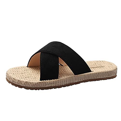BDBD Pantuflas Transpirables,Zapatillas Frescas de Verano para Mujer, con Zapatos de Playa de mar afuera-Black_35,Sandalias Informales con Tiras