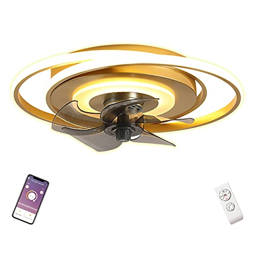 LED Plafon Ventilador Techo con Luz Redondo Dorado Lamparas con Ventilador de Techo con Iluminacion Mando a Distancia Silencioso Circulo Infantil Salon Dormitorio Juveniles Control Remoto 50cm