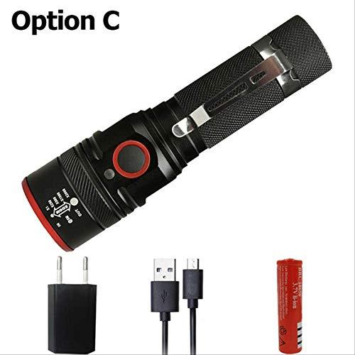 Lampe de poche rechargeable USB Xml-t6 Lampe de poche Led Zoomable 4 modes Torche pour 18650 avec câble USB Option de camping C