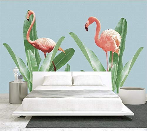 PJX Papel pintado personalizado Minimalista Pastel Flamingo Sofá Cama Cabeza Pared Fondo Sala Dormitorio Fondo 3D Wallpaper200cmx140cm