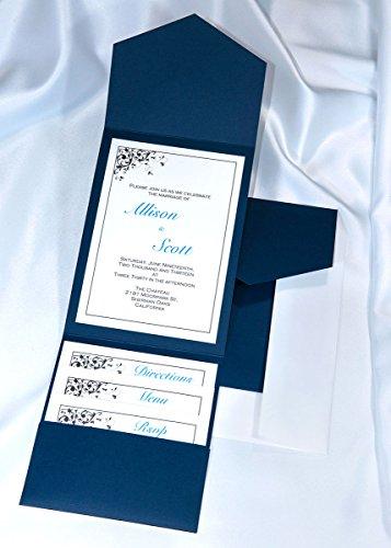 All-in-One Pocket Invitation Kit - Navy Blue Elegance - Pack of 20