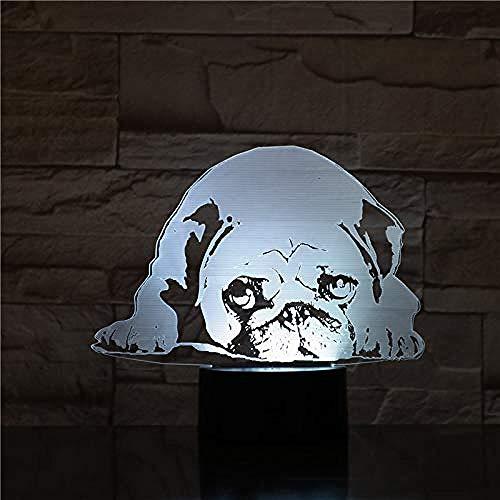 3D Night Light Illusion Lamp Pug Dog Desk Lamp Bedside Illusion 7 Color Changing Hoom Decorative Lamp Child Kids Baby Kit Night Light Pug Dog Gift