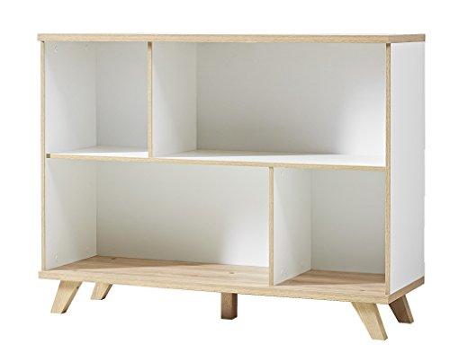 Germania 3267-221 Regal im skandinavischen Design GW-Oslo in Weiß/Absetzungen Sanremo-Eiche-Nachbildung, 120 x 93 x 40 cm (BxHxT)