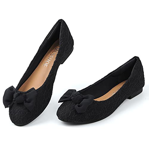 MUSSHOE Flats for Women Floral Lace Women s Flats Comfortable Slip On Classic Dressy Casual Flats Shoes Women, Black Chiffon-Bow 8