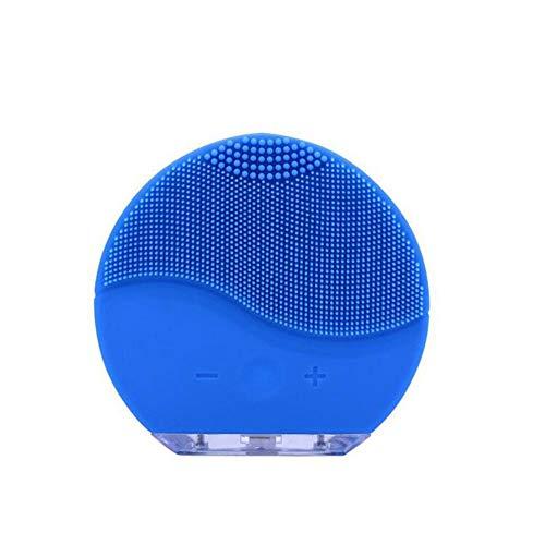 Nouveau Instrument de nettoyage en silicone électrique Vibration ultrasonique Instrument de massage Brosse de lavage Facial Pore Cleaner Outil de beauté, Bleu 1pcs