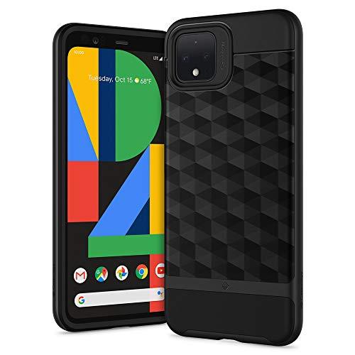 Caseology Parallax Kompatibel mit Google Pixel 4 XL Hülle, Schwarz 3D Muster Schutzschicht Stoßfest Case, Handyhülle Google Pixel 4XL (Matte Black)