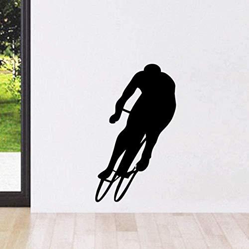 Pegatinas de Pared,Navidad, reposicionable, vinilo, multicolor Ciclismo silueta niños habitación decoración de la pared vinilo arte murales bicicleta calcomanías de pared extraíble 44X75Cm