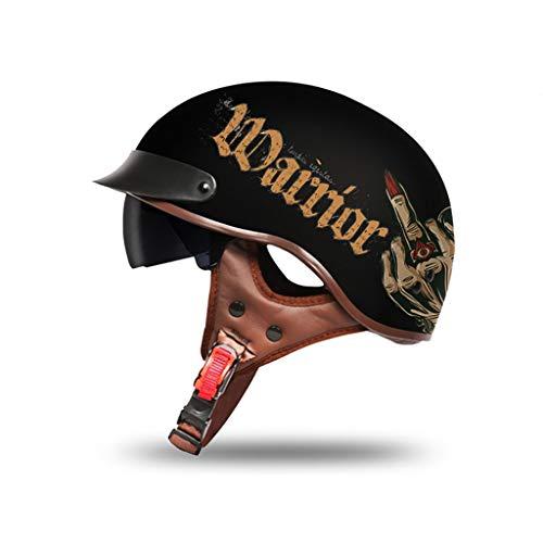 GAOZH Motorrad Halbhelme Brain-Cap · Halbschale Motorrad-Helm Jet-Helm Roller-Helm Scooter-Helm Retro HelmeMotorrad Half Helm mit Built-in Visier für Cruiser Chopper Biker Moped,ECE-Zulassung