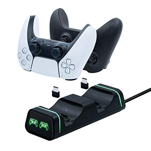 Mcbazel Dual-USB-Ladestation für NS Switch Pro/ PS5/ Xbox Elite 2 / Xbox Serie S/Serie X /Google Controller mit LED-Licht-Anzeigen.