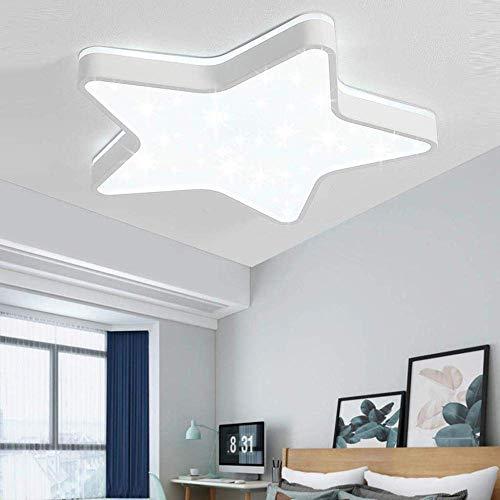 Sparkling Glitter Star Plafondlamp met led-lichtscherm, afstandsbediening, lichteffect, vijfpuntige plafondlamp, kleur gloeilamp, kinderkamer, slaapkamer, hal, wit, 60 cm dimmen