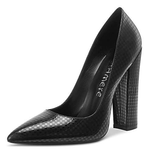 CASTAMERE Damen High Heels Spitzen Blockabsatz Pumps 12CM Heel Shoes Schwarz Kariert Schuhe EU 43.5