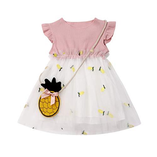 Vestido Princesa para Niña Bebé Conjunto 2 Piezas 1 Vestido de Gasa Dos Capas con Bordado de Piña + 1 Bolso Piña Verano Cumpleaños