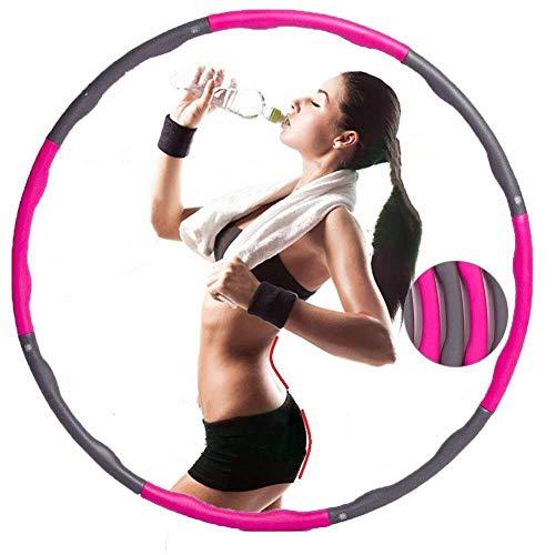 CICADAS Hula Hoop Reifen Erwachsene, Fitnesskreis, 8 Abschnitte des Abnehmbaren & Einstellbare Schaumstoff Gymnastik Kreis für Gewichtsverlust Fitness-Training (Grau und Rot)
