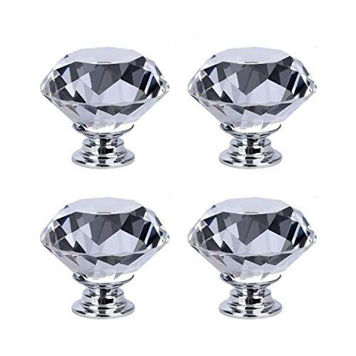 Maniglia per cassetti, in cristallo a forma di diamante, per cassetti, 4 pezzi, bianco