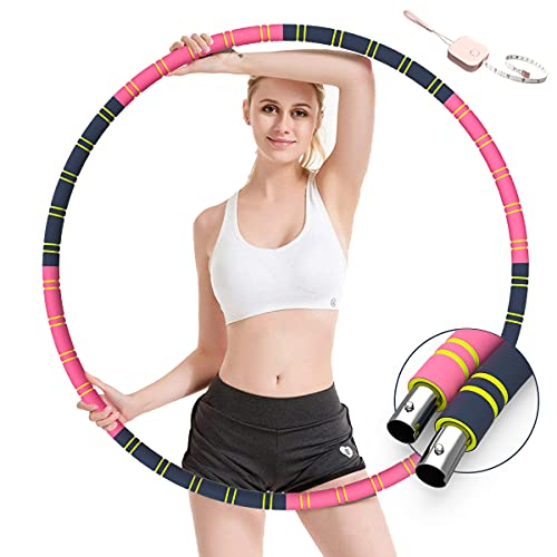 DRYMOKINI Hula Hoop Reifen, Hula Fitness 8 Segmente Spleißen Abnehmbar Edelstahlkern für Erwachsene & Kinder 1.2Kg/3.5Kg, für Soft Fitness Übung Burning Fat Workout, Stabil und Komfortabel (Upgrade)