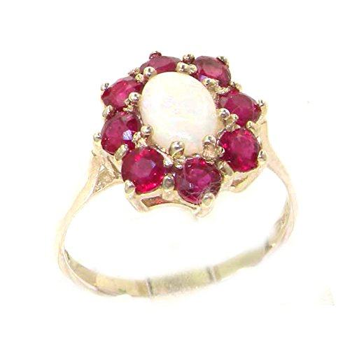 Ladies Solid Sterling Silver Natural Opal & Ruby Cluster Ring - Size L