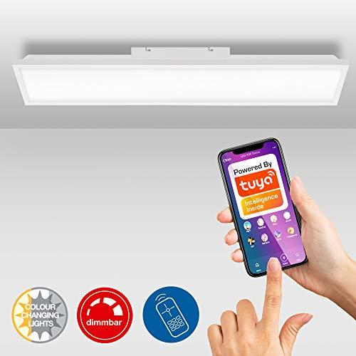 Briloner Leuchten - LED Panel, Deckenleuchte dimmbar, WiFi, inkl. Farbtemperatursteuerung, inkl. App - Bedienung, inkl. Fernbedienung, 24 Watt, 1.840 Lumen, Weiß, 1.000x250x65mm (LxBxH)