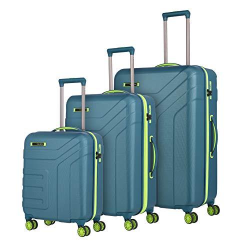 travelite 4-Rad Koffer Set Größen L/M/S mit TSA Schloss, Handgepäck erfüllt IATA Borgepäck Maß, Gepäck Serie VECTOR: Robuster Hartschalen Trolley in stylischen Farben, 072040-22, petrol/limone