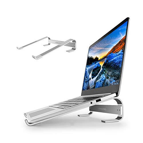 LONGING Laptop ständer, Tragbarer Aluminium Cooling Ständer Ergonomische Riser Universal laptopständer für MacBook Pro/Air Surface Samsung HP Asus Lenovo Notebook Laptop ständer 17 Zoll~10 Zoll Silber