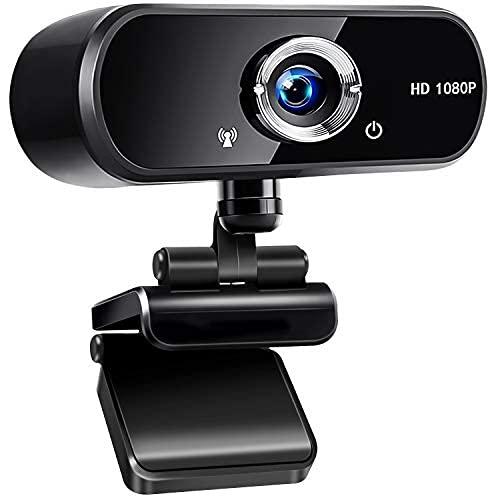 jojobnj Webcam PC con Microfono, USB 2.0 Webcamera 1080P Full HD, 360 Gradi Webcam per Video Chat e Registrazione, Conferenze, Studi, Videochiamate, Lezioni Online e Giochi (nero)