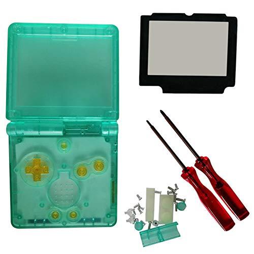 Jerilla Sostituzione Trasparente Copertura del Guscio Conchiglia per Gameboy Advance SP GBA SP Console, Caso Chiaro Pieno Parti di Riparazione con Lente in Vetro e Cacciavite