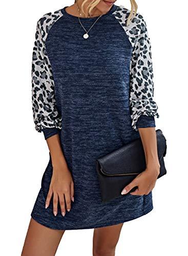 CORAFRITZ Vestido casual de manga larga con cuello redondo y estampado de leopardo, con bolsillos