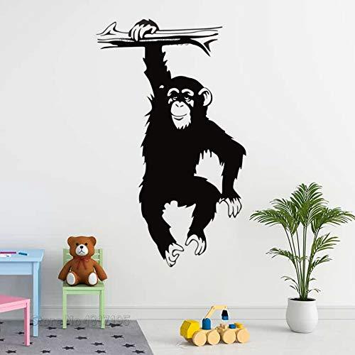 Adhesivo decorativo para pared, diseño de mono con tronco, diseño de gorila, mono, selva salvaje, animales de la selva salvaje, murales A7, 42 x 70 cm