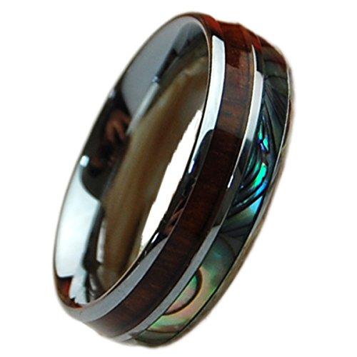BreezyIsland ハワイアンジュエリー リング アバロン&コアウッド 指輪 タングステン (US8-JP16.5号)