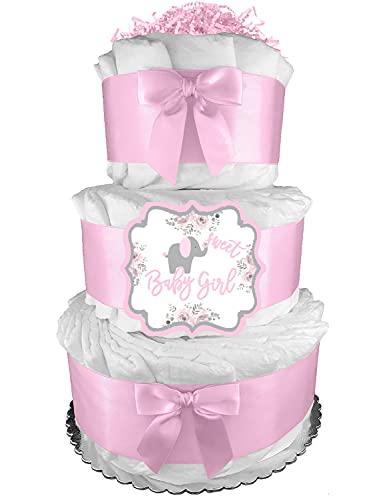 Elephant Diaper Cake - It's a Girl Baby Shower Gift - Newborn Gift Idea - Pink