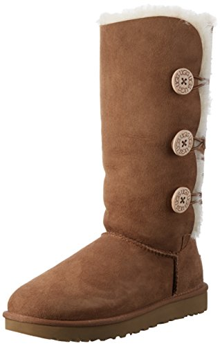 UGG Women's Bailey Button Triplet II Winter Boot, Chestnut, 8 B US