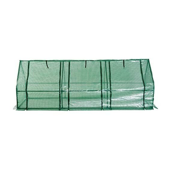 Outsunny 9' l x 3' w x 3' h portable tunnel greenhouse outdoor garden mini hot house with large zipper doors, water/uv… 4 ✅protect plants from the elements: bring all of your plants together in a unified and protected space with our garden greenhouse. Having everything in one place means our plant nursery helps you manage and grow your plants, fruits, vegetables, and flowers all year round. ✅updated design with 3 large doors: the 3 side doors of our plant nursery can be completely opened and rolled up with ties, thereby making a larger space & creating better ventilation. ✅let and keep the good stuff in: this small hot house features a pe mesh grid cover that is sun and water fighting to help protect plants while allowing nourishing sunlight to pass through. Furthermore, the cover helps retain heat during colder months.