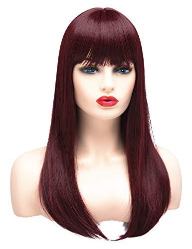BESTUNG Longue perruque droite pour les femmes Mesdames Cheveux synthétiques Full Hair Naturel Bourgogne Bourgogne Rouge Ombre perruque avec Bang pour Costume Cosplay ou la vie quotidienne