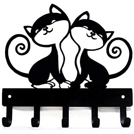 Custom American Steel with Black Finish Cat Shadow Accessory Hook Makes a Perfect Accessory for Any Cat Lover/'s Home Feline Fixings!