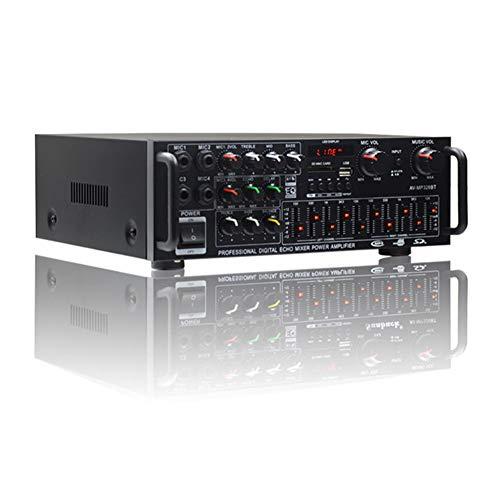 WWMH Amplificador Coche,Bluetooth/ReverberacióN de Karaoke/Radio FM/4 Tomas de MicróFono/HiFi/Interfaz USB/Control Remoto por Infrarrojos,AutomóVil y Motocicleta,Interior y Exterior