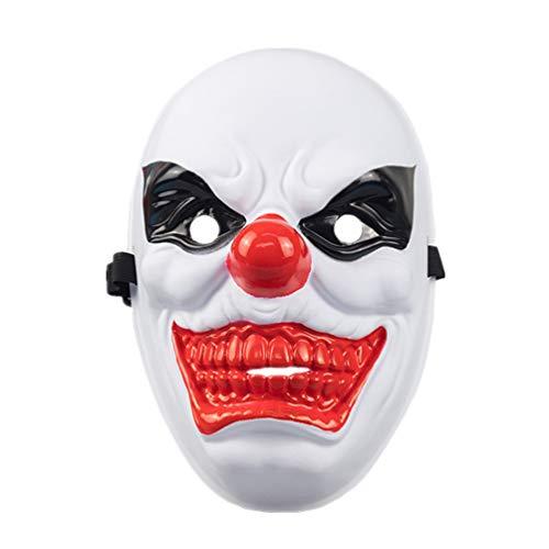 Amosfun 1 mscara de payaso de PVC resistente y creativa de cara completa para fiestas de disfraces de fantasmas