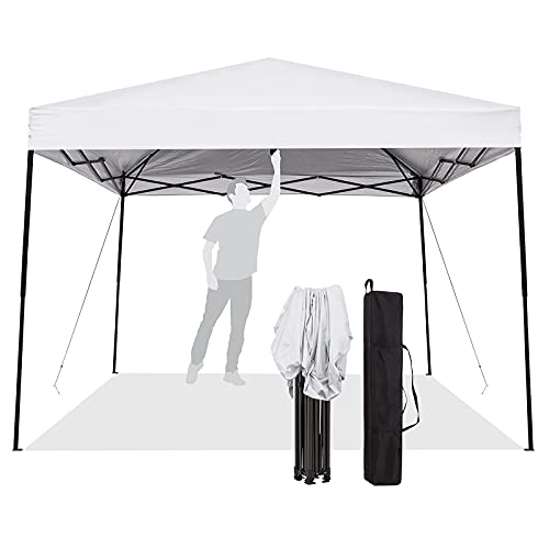 Enoah Outdoor Pop Up Canopy Tent, 8 x 8 Easy Set-up Straight Leg Folding Instant Shelter for Beach,Party and Camping,White