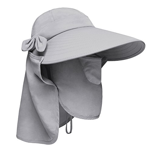 Lenikis Women's UPF+50 Sun Visor Detachable Flap Hat Foldable Wide Brimmed UV Protection Hats Grey