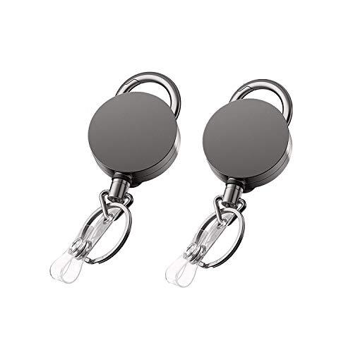 VIQWYIC Heavy Duty Einziehbarer Badge Holder Reel, Metall-ID-Ausweishalter mit Klauenverschluss und Gürtel-Clip Schlüsselring für ID-Kartenhalter (2 Pack)